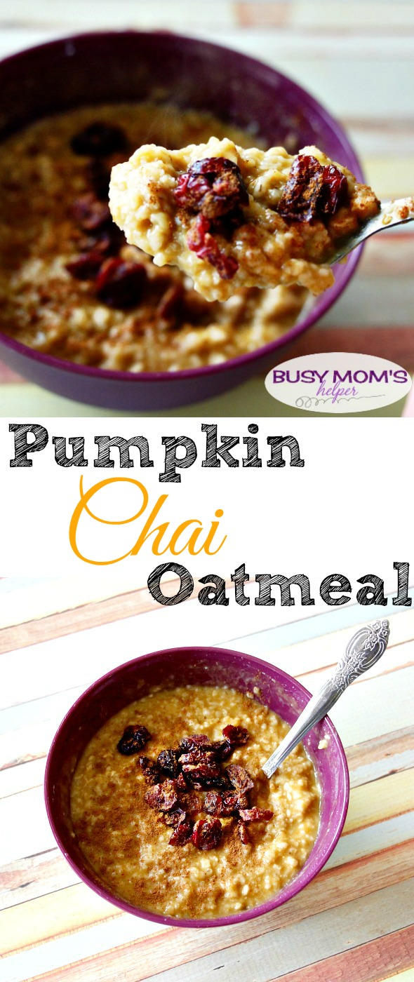 Pumpkin Chai Oatmeal / recipe by BusyMomsHelper.com / great easy breakfast idea