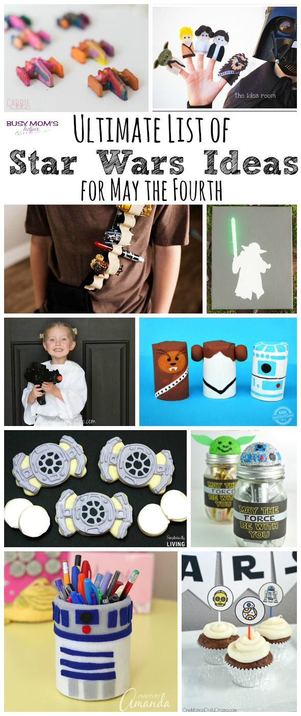 Ultimate List of Star Wars Ideas for May the Fourth / Roundup by BusyMomsHelper.com / Great Star Wars Crafts / Yummy Star Wars Food / Star Wars Printables / May the Force Be With You!