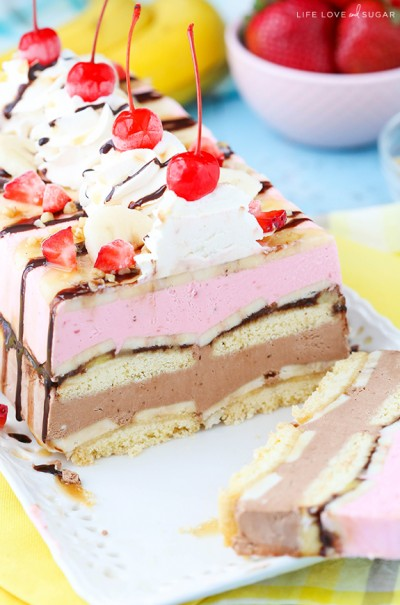 Banana Split Ice Cream Cake Loaf