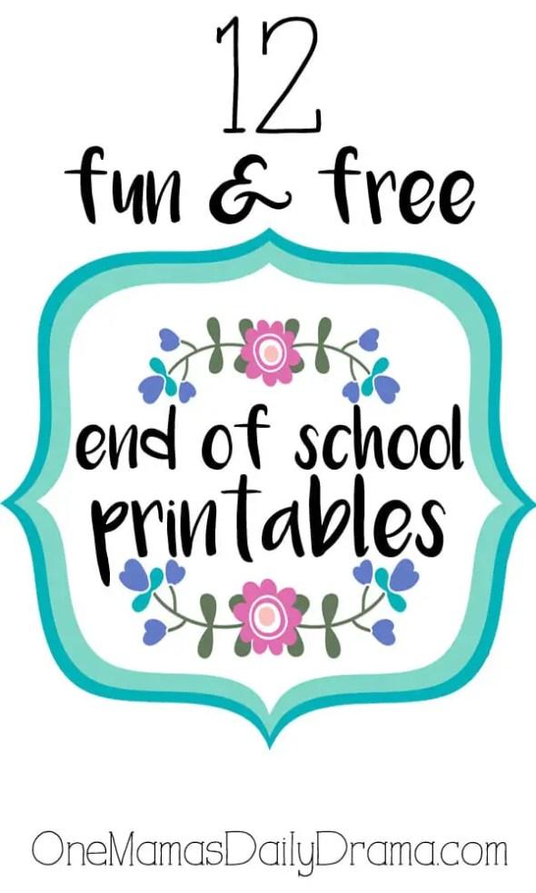 12 fun & free end of school printables by OneMamasDailyDrama.com