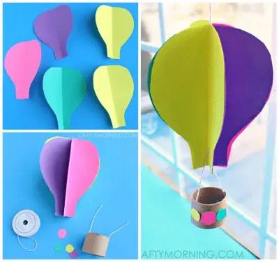 3d spinning hot air balloon craft for kids