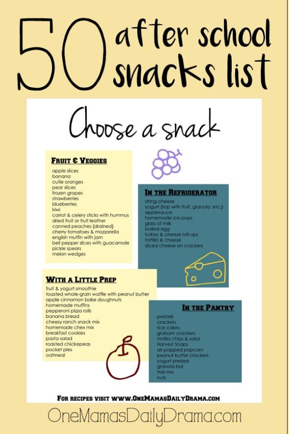 50 after school snacks printable list from OneMamasDailyDrama.com