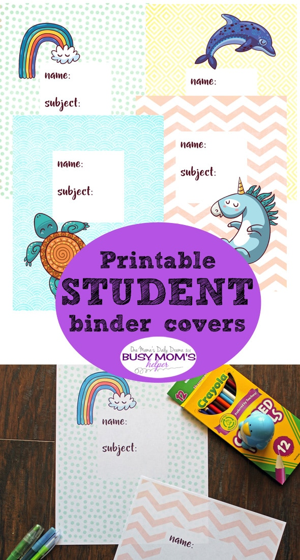 Printable student binder cover | One Mama's Daily Drama for Busy Mom's Helper