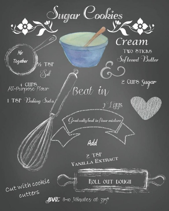 Chalkboard Sugar Cookie Recipe Printable