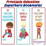 Printable Valentine Superhero Bookmarks