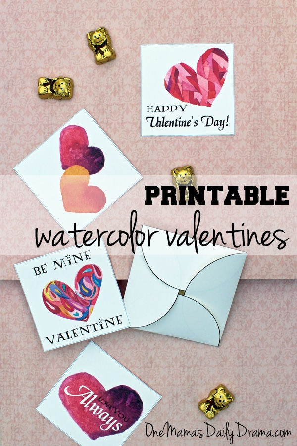 Printable watercolor valentines | One Mama's Daily Drama