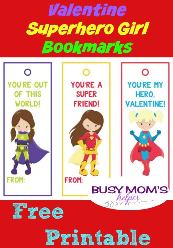 Valentine Superhero Girl Bookmarks