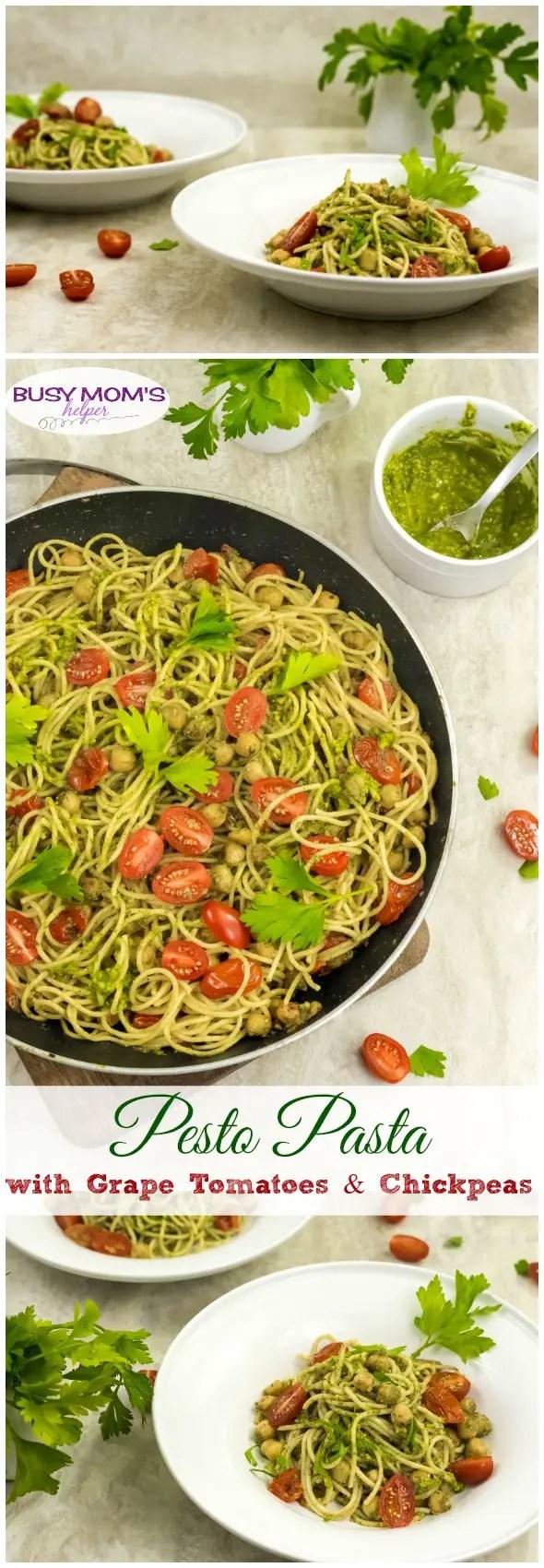 Pesto Pasta with Grape Tomatoes & Chickpeas