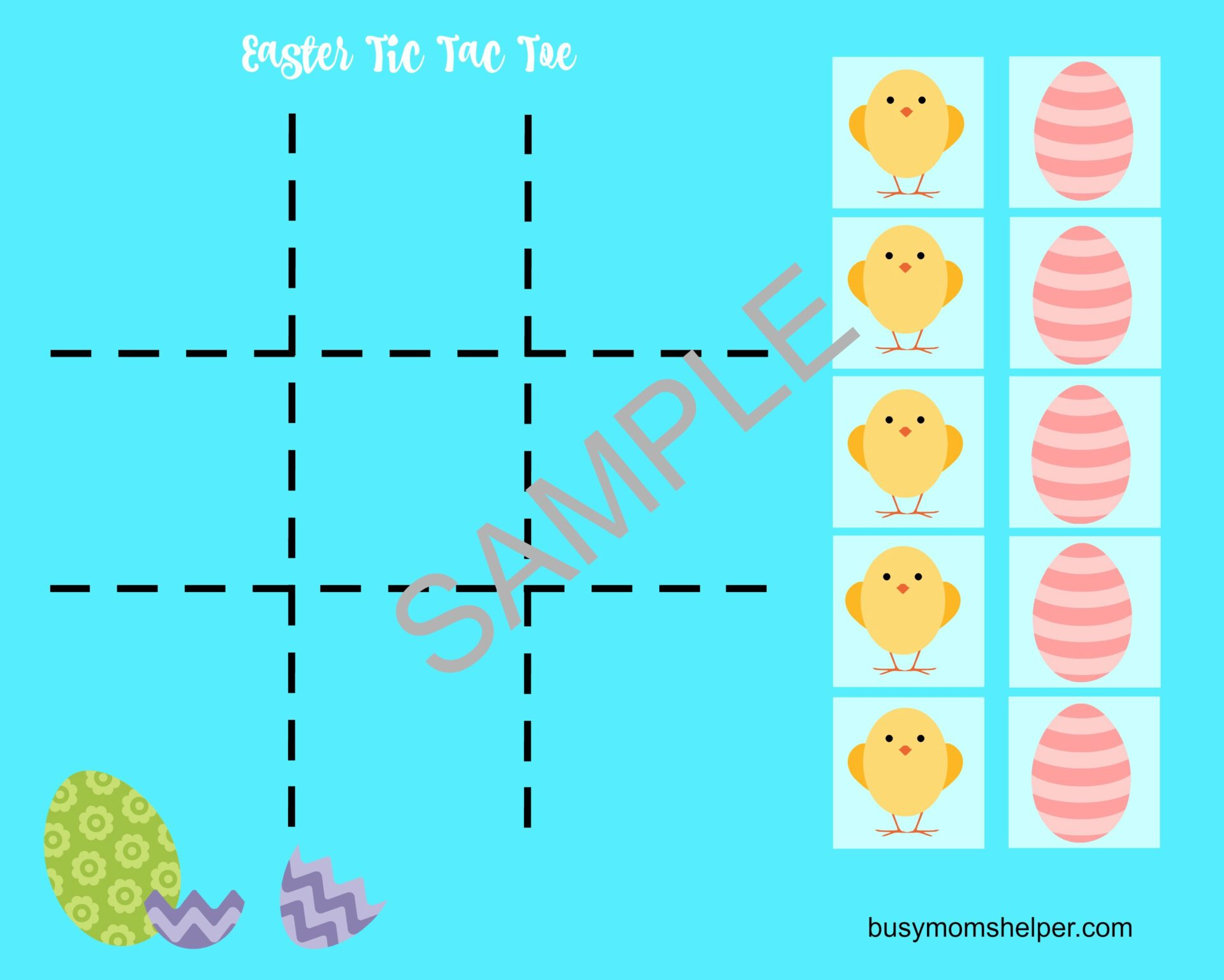 graphic relating to Tic Tac Toe Printable named Easter Tic Tac Toe Printable - Chaotic Mothers Helper