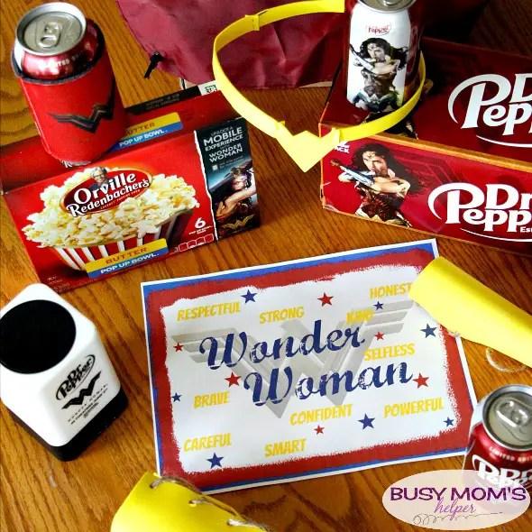 Wonder Woman Inspired Movie Night / DIY Wonder Woman Inspired Tiara & Bracelets / Wonder Woman Inspired Free Printable Wall Art #WonderfulMovieNight #WonderWoman #ad