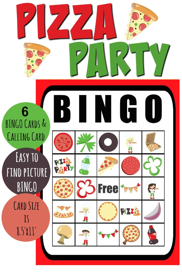 photograph relating to Printable Pizza titled Totally free Printable Pizza Celebration Bingo - Occupied Mothers Helper