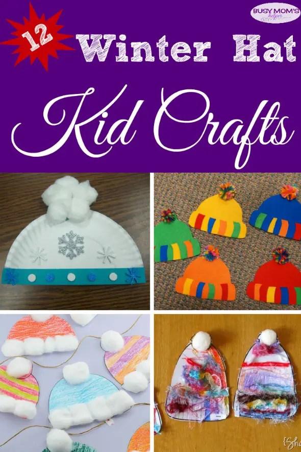 12 Winter Hat Kid Crafts #kidcrafts #wintercrafts #kidactivities #winter