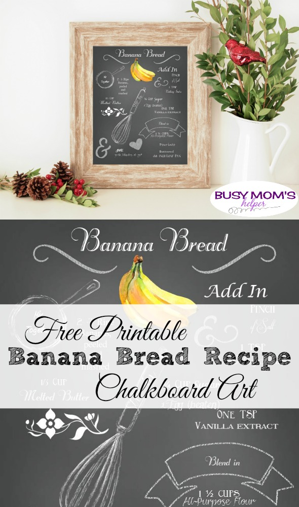 Free Printable Banana Bread Recipe Chalkboard Art #printable #freeprintable #chalkboard #art #bananabread #recipe #breadrecipe