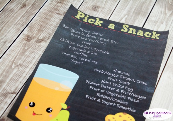 Printable Snack List - great for helping your kids pack their own snack or pick their own afterschool snack! #snack #printable #snackprintable #snacklist #kids #afterschool #schoolsnack