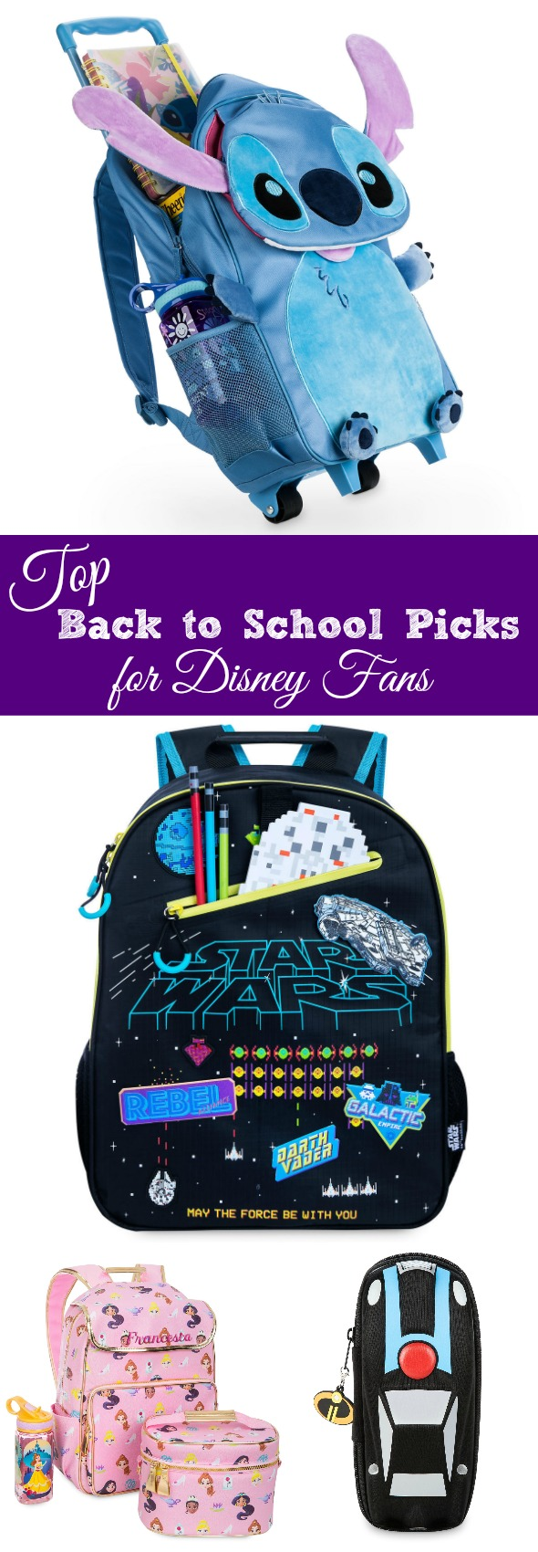 Top Back to School Picks for Disney Fans #affiliate #ad #disney #backtoschool #schoolshopping #shopdisney #backpack #lunchbox #lunchtote #pencilcase #starwars #superhero #incredibles #stitch #ariel #princess #disneyprincess
