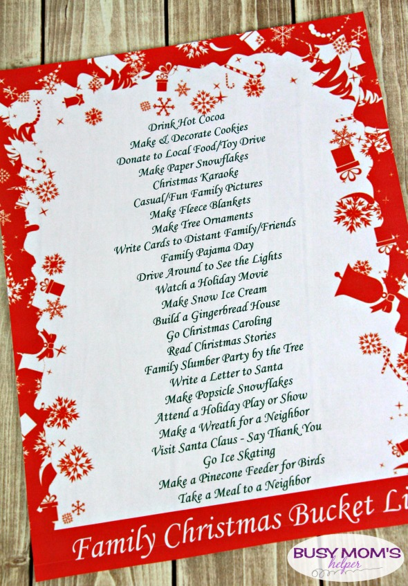 Free Printable Christmas Bucket List for Families - three styles to pick from! #christmas #holiday #freeprintable #bucketlist #holidayactivities #family #familychristmas #familyactivities #decemberactivities #decemberbucketlist #christmasbucketlist