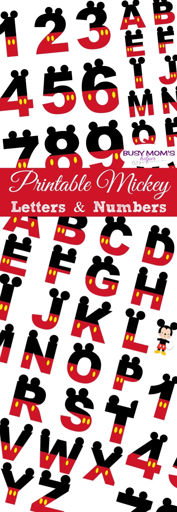 picture regarding Mickey Printable known as Printable Mickey Figures Letters - Hectic Mothers Helper