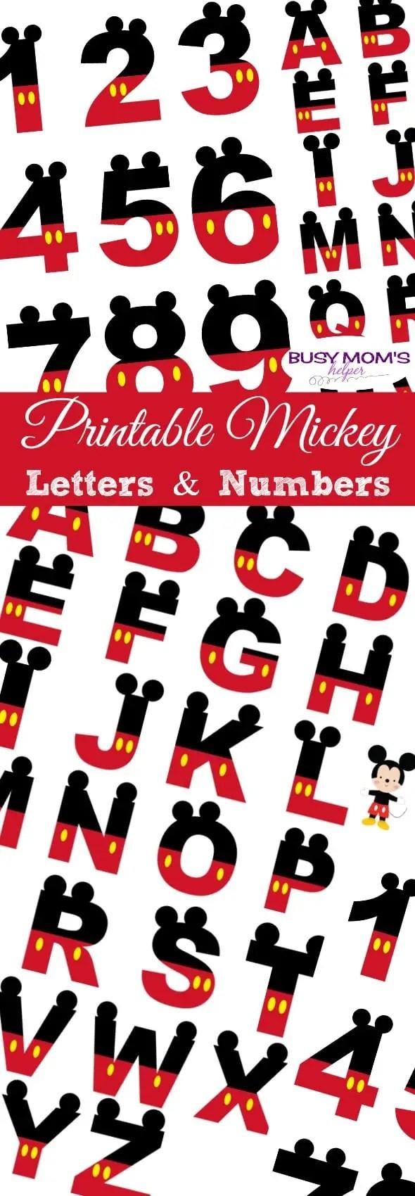 Free Printable Mickey Letters & Numbers #disney #mickeymouse #banner #printable #freeprintable #mickeyletters #mickeynumbers