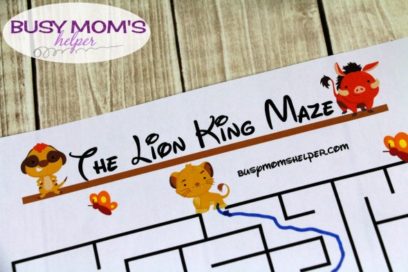 Free Lion King Printable Maze activity for kids #thelionking #printable #freeprintable #kidactivity #lionking #disney