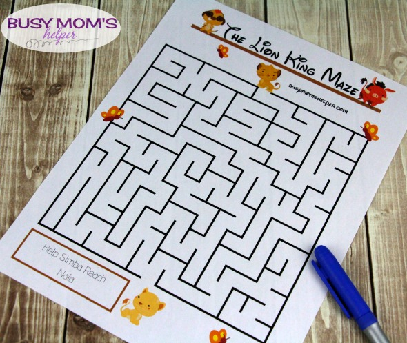 d060878c Lion King Printable Maze - Busy Moms Helper