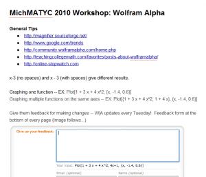 Image of Google Doc for Wolfram Alpha Workshop