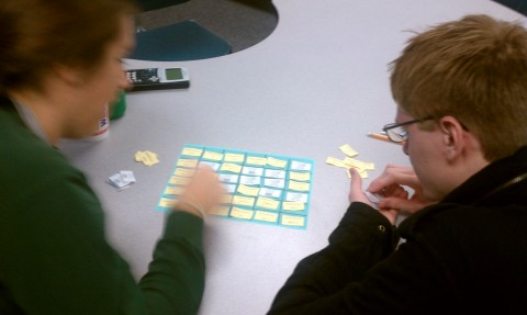 Two students playing the Antiderivative Block game.