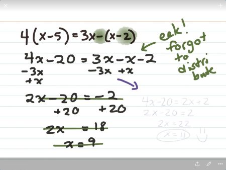 Worked math problem with cross-outs and restarts and notes to self.