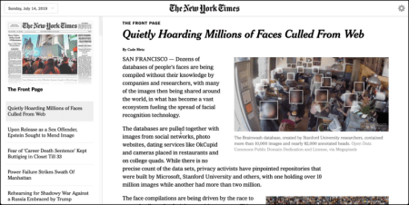 Screenshot of New York Times Today's Paper Layout