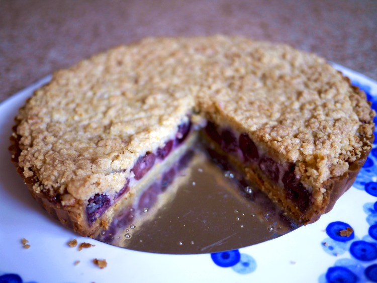 Cherry Crumb Tart Missing Slice