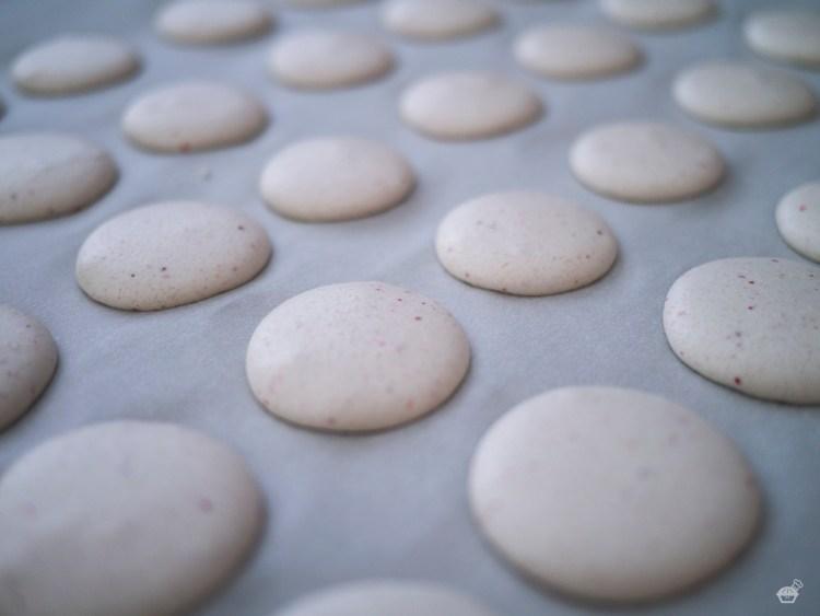 Strawberry Macarons Pre-bake