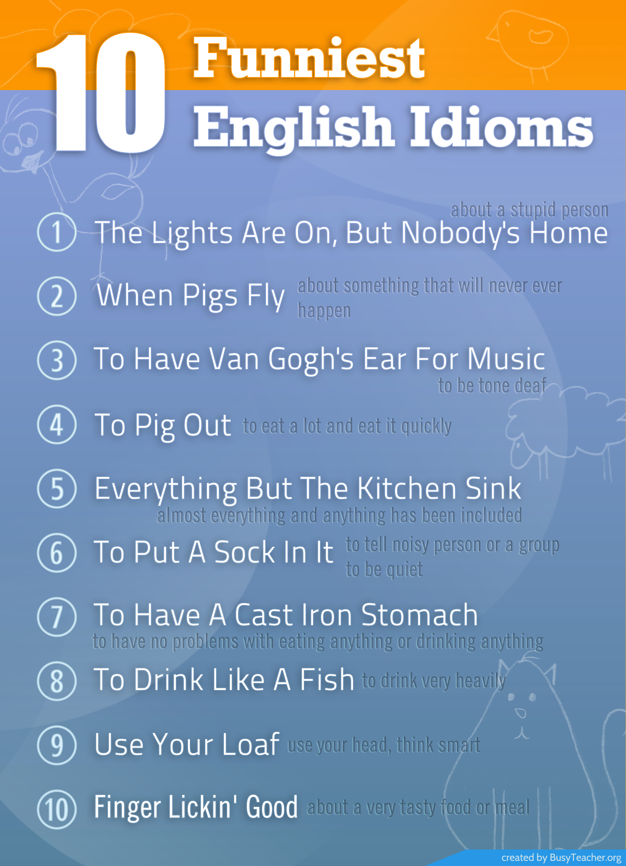 10 Funniest English Idioms Poster