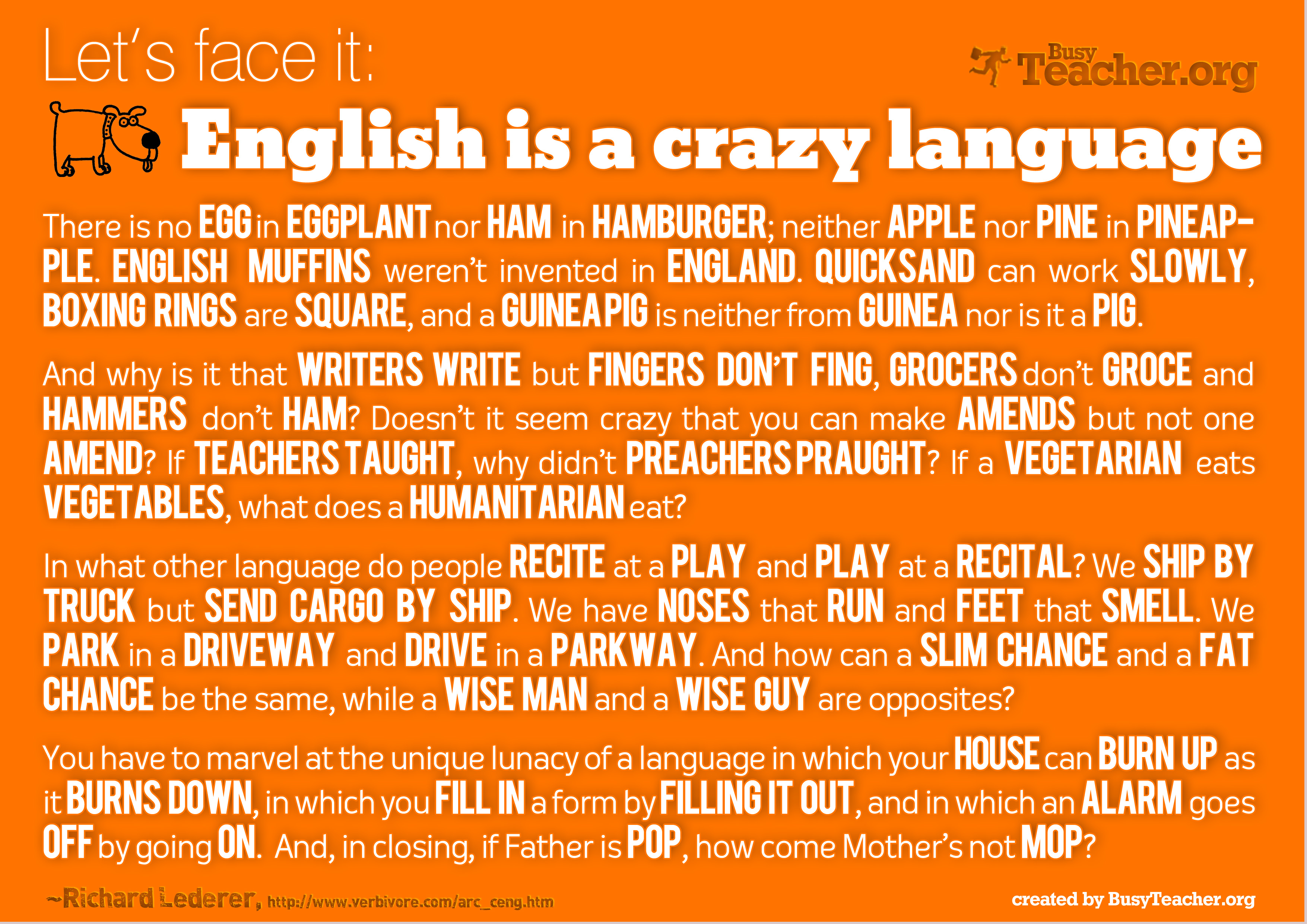 English Is A Crazy Language Poster