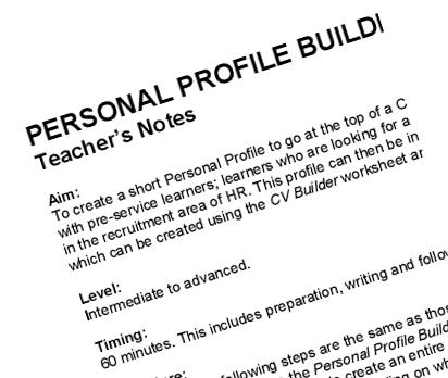 CV Builder: Writing Activity