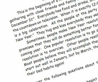 Happy New Year: Reading Passage