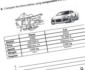 Comparative / Superlative Beginner Worksheet
