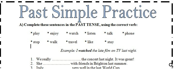 Past Simple Practice Worksheet