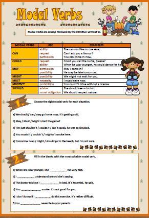 Modal Verbs Worksheet