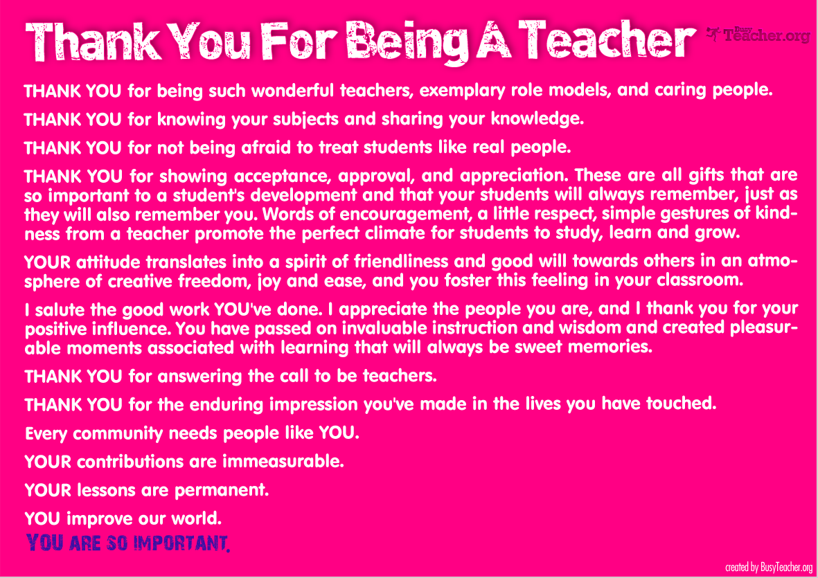 Thank You For Being A Teacher Poster