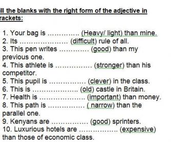 Comparative Or Superlative Degrees Of Comparison Worksheet