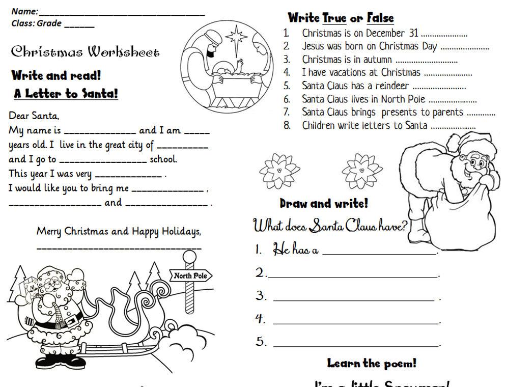 Christmas Activity Worksheet