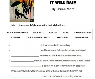 Song Worksheet It Will Rain By Bruno Mars