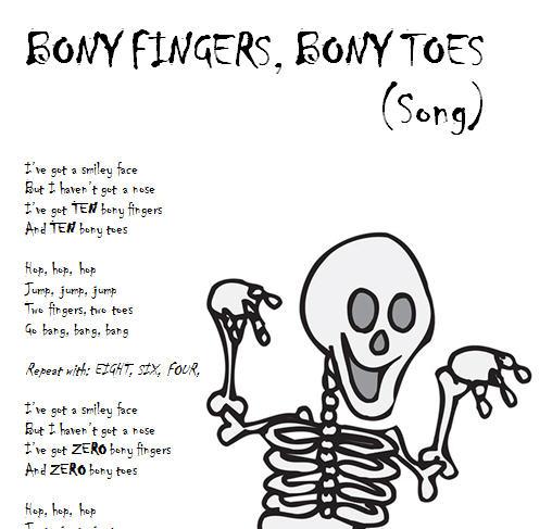 Halloween Song Worksheet:- Bony Fingers, Bony Toes