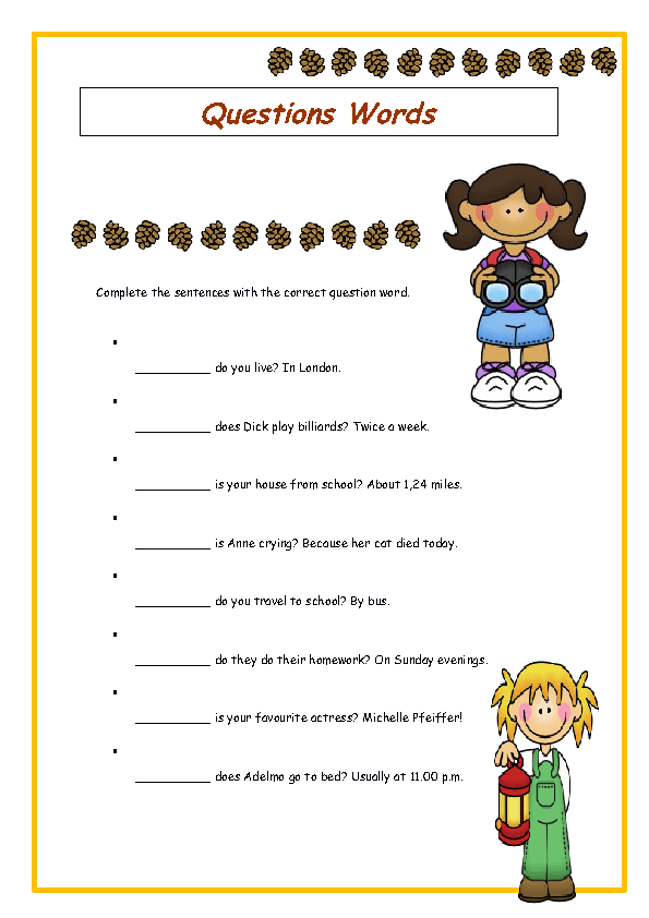 WhQuestion Words Elementary Worksheet