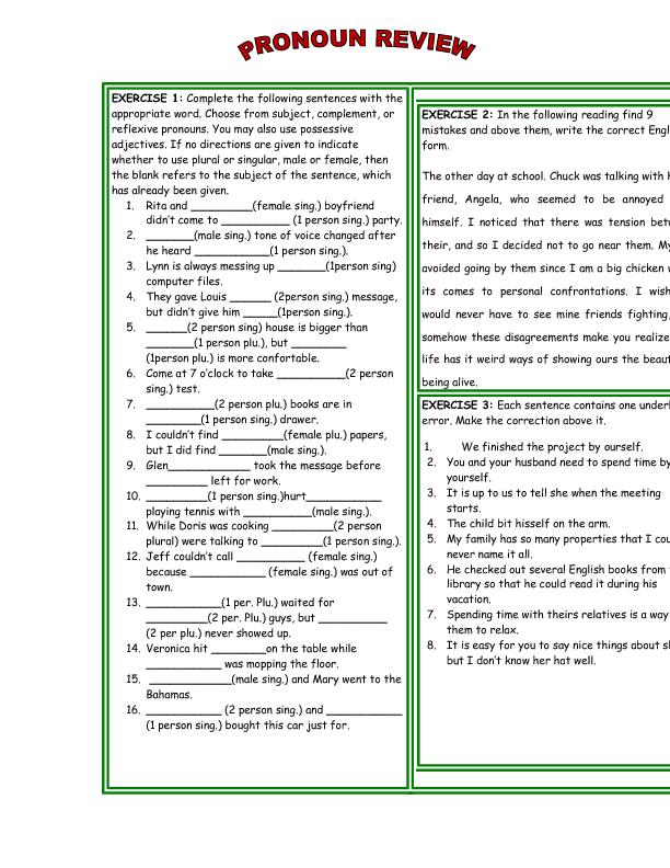 20 FREE Reflexive Pronouns Worksheets
