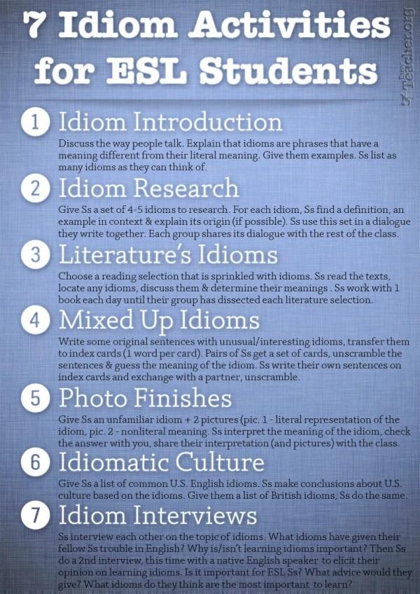 7 Idiom Activities Esl Students Poster