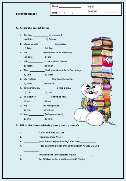 Present Simple Tense Elementary Worksheet Ii