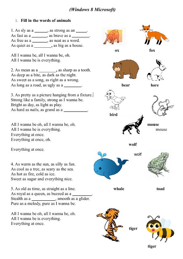 Song Worksheet Windows 8 By Lenka