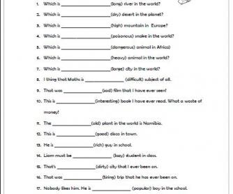 Superlative Adjectives Worksheet