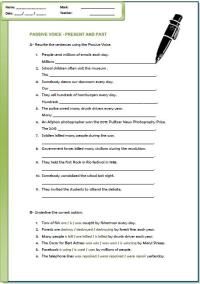 Passive Voice: Present and Past Worksheet