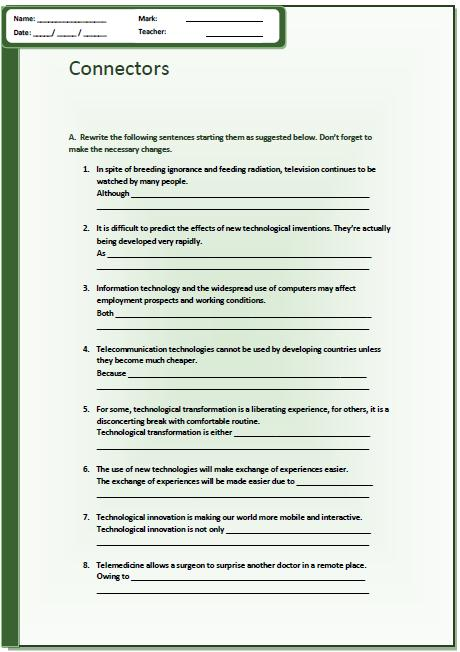 Connectors And Technology Intermediate Worksheet